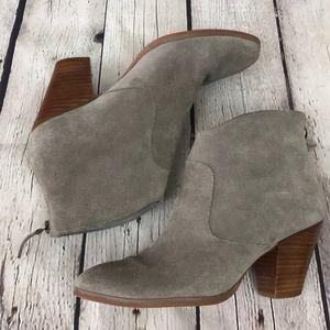 Tesori Gray Suede Zip Up Heeled Ankle Booties!